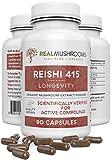 Reishi 415 Longevity Capsules (90ct), 500mg Organic Reishi Mushroom Capsules, Reishi Mushroom Extract, 45-Day Supply of Reishi Mushroom Supplements