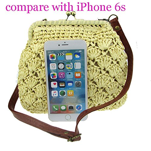 Donalworld Lady Mini Hollow Out Casual Beach Bag Hasp Straw Shoulder Bag Beige by Donalworld (Image #1)