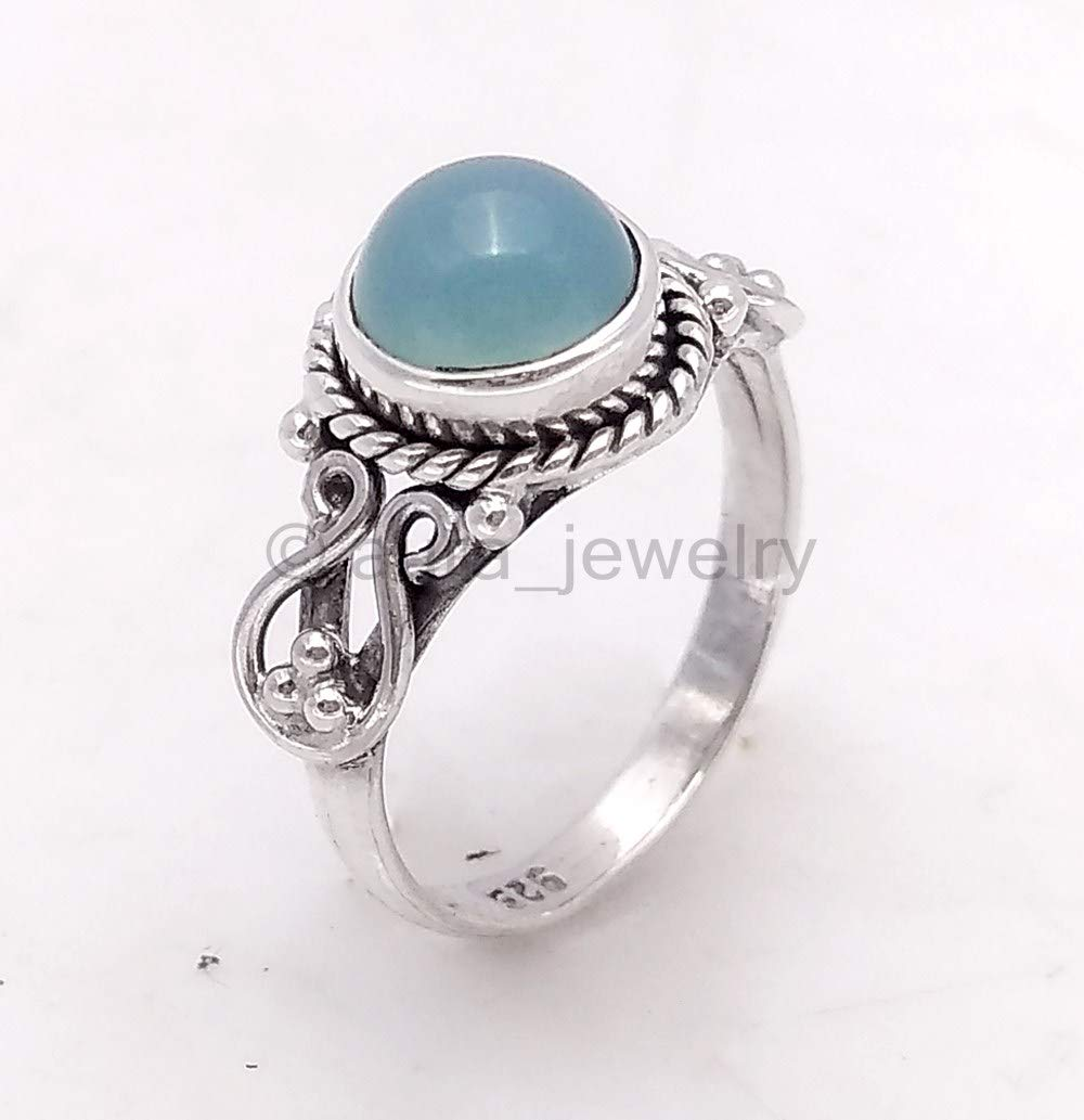 Solid 925 Sterling Silver Rings for Women /& Girls Handmade Jewelry Sterling Silver Chalcedony Ring Solitaire Mothers Day Gift Bridesmaid Gift