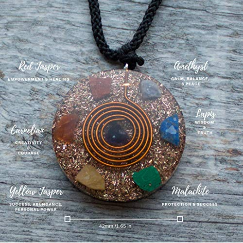 Reversible Orgonite Mixed Chakra Orgone Gemstone Pendant - Revitalization Relaxation Chi energy enhancing Crystal necklace- Tesla Coil - - Yang Gemstone