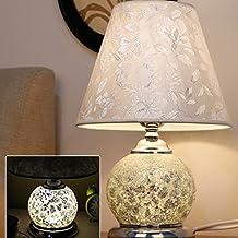 Glass Craft Desk Lamp Living Room Bedroom Studyroom Bedside Lamp Modern European Pastoral LED Lamp ( Color : White )
