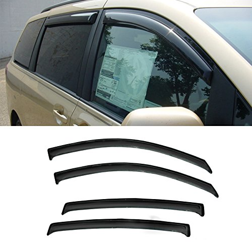 Alxiang 4pcs Smoke Tint Out-Channel Reinforced Acrylic Sun Rain Guard Vent Shade Window Visors For 11-17 Toyota - Sun Sienna