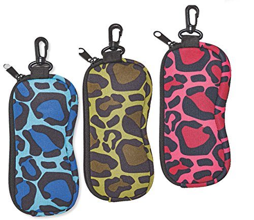 Floating Glasses Case For Men & Women, Soft Zippered Eyeglass Case With Clip- Camouflage, Blue