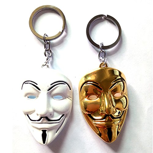Halloween V-Vendetta Mask Keychain Pendant - 2 Sets (White and Gold)