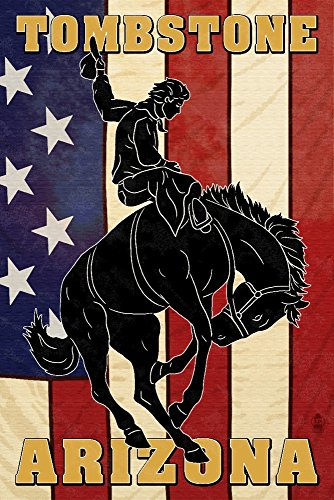 Tombstone, Arizona - Bronco Bucking and Flag (24x36 SIGNED Print Master Giclee Print w/Certificate of Authenticity - Wall Decor Travel Poster)
