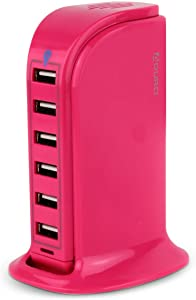 Aduro 40W 6-Port USB Desktop Charging Station HubWall Charger for iPhone iPad Tablets Smartphones with Smart Flow (Pink)