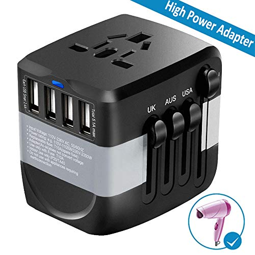 Travel Adapter 2300W International Power Adapter w/4 Fast Charging USB 3.0 Ports, Universal Power Adapter All in One Universal Travel Plug Adapter for USA EU UK AUS Over 170 Countries (Black) (Best Electrical Switches For Home In India)