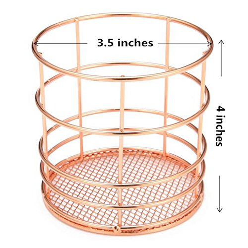 Deluxe Metal Pen Brush Stationery Holder Storage Box Container Pencil Paint Pen Organizer Home Office Storage Supplies Rose Gold Type#B