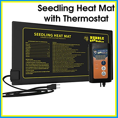 BUBBLEBAGDUDE Seedling Heat Mat with Digital Thermostat Combo Kit - Waterproof Hydroponic Starting Heating Pad 10' x 20.75' - Propagation Starter Kit for Seedling, Cloning and Seed Germination