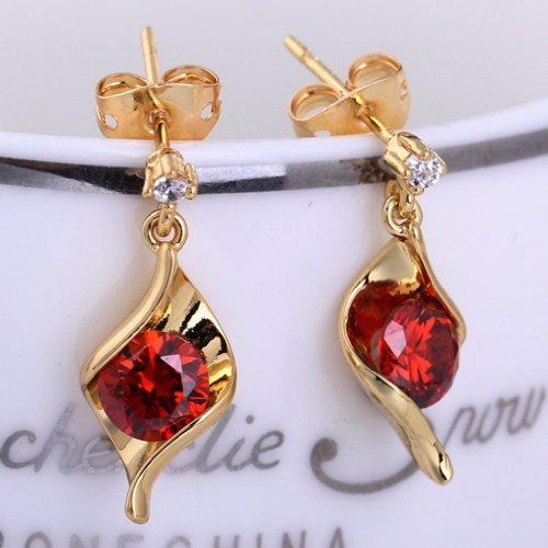 EOZY Fantaisie 7mm Rouge Diamant Doré Cuivre Clou d'oreille Plaqué 18K Or Anniversaire Valentin Cadeau