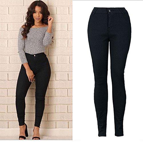 Cotton Huat Taille Pantalons Noir SANFASHION Basic Crayon Jeans Skinny Extensible Occasionnel Femme q7pRx1xIw