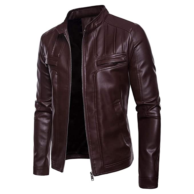 kemilove Men Fashion PU Leather Blazer Jacket Tailored Collar Zip Jacket at Amazon Mens Clothing store: