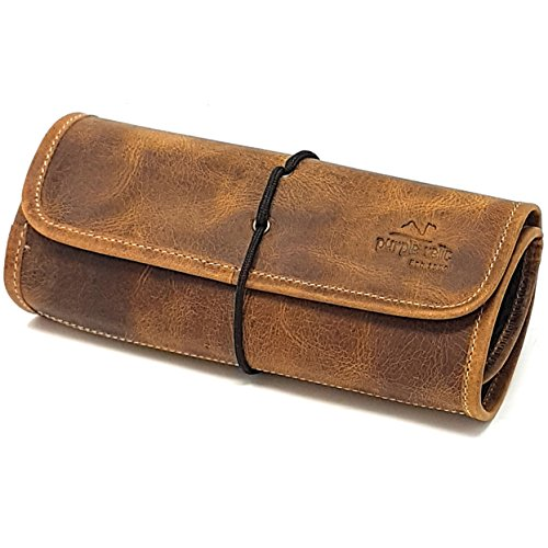 RIVAL Leather Travel Organizer Bag for Cables, Small Electronics ~ Passport Bag Roll ~ Mesh Zippered Pockets for USB Drive, Phone, Battery, SD Card, SIM card ~ Unisex Gift (Tan) (Two Zippered Main Pockets)