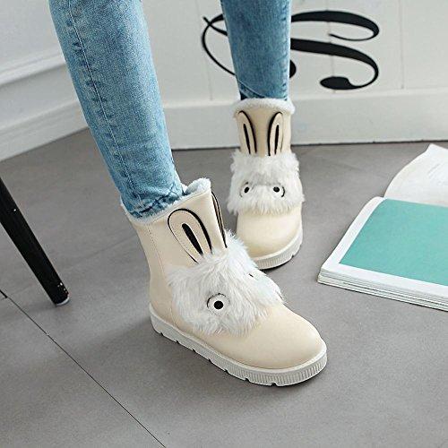 beige fausse Jolies fourrure Mee plates bottes Shoes pour femme en fZzxOF
