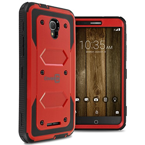 Alcatel Fierce 4 Case, Alcatel One Touch Allura Case, Alcatel Pop 4 Plus Case, CoverON Tank Series Full Body Front and Back Heavy Duty Hard Protective Phone Cover - Red