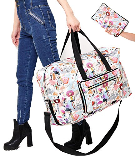 Travel Bag Foldable Large Travel Duffel Checked Bag Carry On Bag Luggage Tote Lightweight Tote Bag Weekender Bag 21.6IN x 9.8IN x 13.7IN (girl)