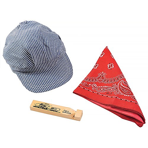 Little Engineer Set - Professional Hat, Red Bandana And Wooden Train (Train Engineer Hat)