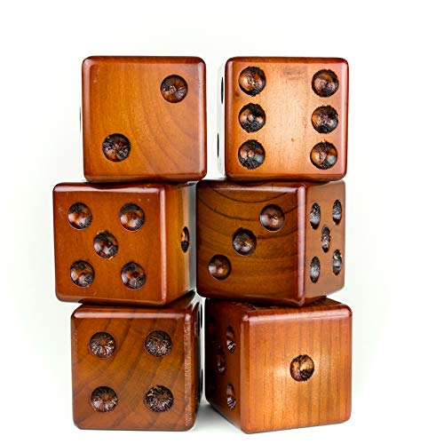 Yardzee Yard Dice Yard Farkle Dice Package, Large Wood Dice with Laminated Score Cards and Yard Farkle score cards, Yard games, Out door games, Wedding Games, Camping Games by Yardzee (Image #2)