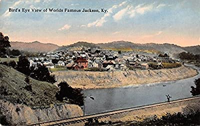 Jackson Kentucky bird's eye view town river train tracks antique pc Y8091