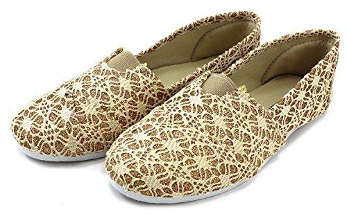 Cammie Damesschoenen Slip Op Fashion Schoen Flats Espadrilles Glitter Goud