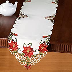 Embroidered Christmas Poinsettia Table Linens, Runner,