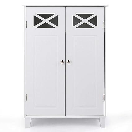 Amazon Com White Free Standing Bathroom Cabinet Double Doors Wooden