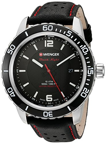 Wenger Men's 'Roadster' Swiss Quartz Stainless Steel and Leather Watch, Color:Black (Model: (01 Fashion Watch)