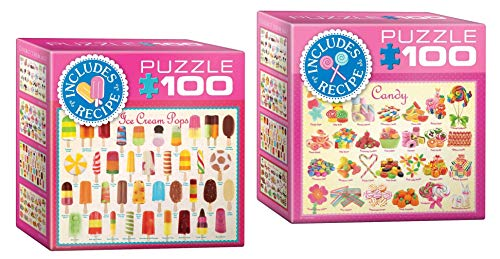 Eurographics Sweets Mini Jigsaw Puzzle Set: 2 100 Piece Puzzles for Adults - Candy and Ice Cream Pops Puzzles with Bonus Recipes