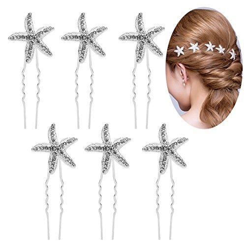 Didder 6 Pieces Crystal Starfish Sea Star Hair Pins Rhinestone Hair Pins Hair Clip in Silver Wedding Bridal Accessory ()