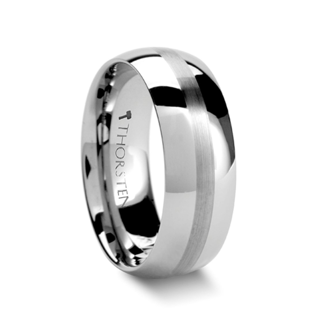 Thorsten BELLATOR Domed with Brushed Center Stripe Polished Tungsten Ring 8mm Wide Wedding Band from Roy Rose Jewelry