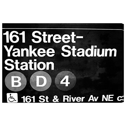Yankee Stadium Night by Oliver Gal | Modern Premium Canvas Art Print. The Cities Wall Art Decor Collection. 15x10 inch, Black