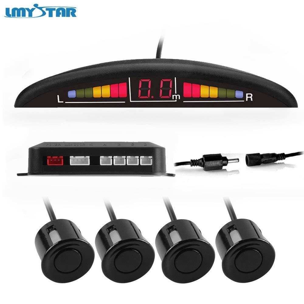 No Connector, Silver Sensors : LMYSTAR Parktronic Carro Detector LED Kit De Sensor De Estacionamento Com 4 Sensores de Estacionamento Radar Reverso Do Carro ...