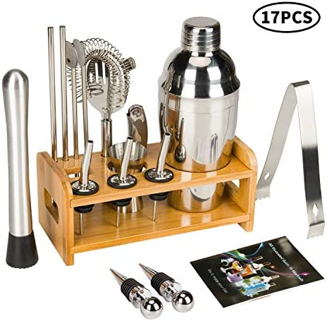 17 Piece Cocktail Shaker Set Bartender Kit for Drink Mixing – Bar Tools with Stand, Home Bartending Kit Stainless Steel Cobbler Shaker Set Boston Shaker Set