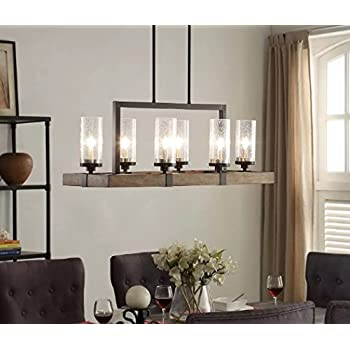 wood and metal chandelier. Vineyard 6-Light Metal And Wood Chandelier N