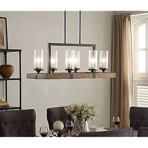 Rectangular lighting fixtures amazon vineyard 6 light metal and wood chandelier mozeypictures Images