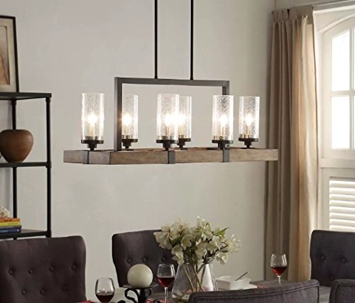 - Vineyard 6-Light Metal and Wood Chandelier