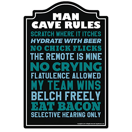 Man Cave Rules Novelty Sign | Indoor/Outdoor | Funny Home Décor for Garages, Living Rooms, Bedroom, Offices | SignMission Wall Lover Gag Gift Sign Wall Plaque Decoration
