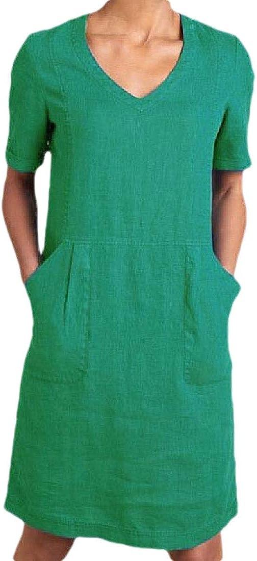 YIhujiuben Women Casual Cotton Linen V Neck Dress Short Sleeve Midi Dress