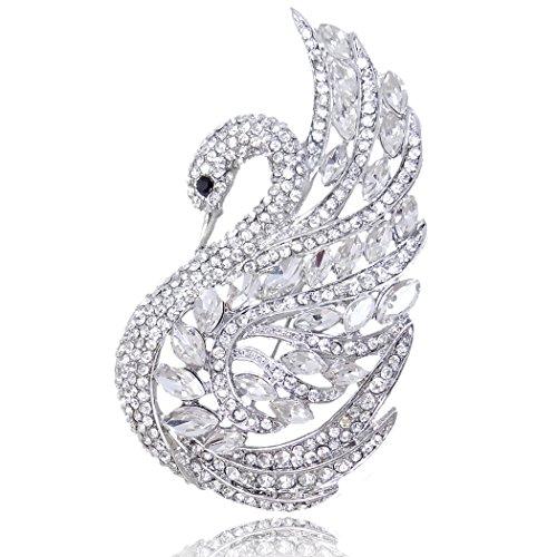 (EVER FAITH Women's Austrian Crystal Elegant Swan Bird Bridal Brooch Pin Clear Silver-Tone)