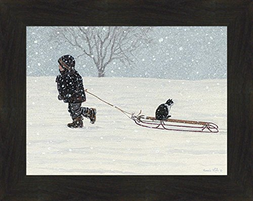 (All Aboard by Bonnie Mohr 16x20 Boy Tuxedo Cat Sled Snow Snowing Child Framed Art Print Wall Décor Picture (2