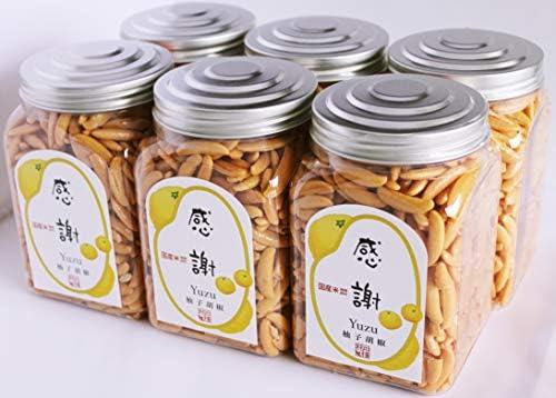 大橋珍味堂 感謝ポット 柿の種柚子胡椒味 210g×6 個入り「感謝」×3個&「いつもありがとう」×3個