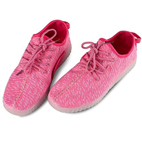 Conduit Chaussures Hommes Air neur Femmes Illuminent Sports Entra Couple Leadfas Sneaker Plein l 7 Fille No Baskets 2 De Usb Rose Couleurs Des Charge Pour Jeune CdwnAq5