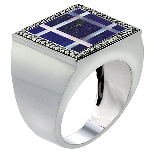 10 Diamond Mother Of Pearl - 10k White Gold Diamond Natural Lapis & Mother of Pearl Mosaic Ring Square Grid 9/16 inch wide, size 11