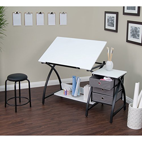 Studio Designs Comet Black/White Center Drafting and Hobby Craft Table with Stool by Studio Designs