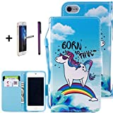 iPod Touch 5 Case,iPod Touch 6 Case, ISADENSER PU Leather Floral Printed Folio Flip Protective Case Cover with Card Cash Slots [Kickstand] for iPod Touch 5/6, Cool Unicorn