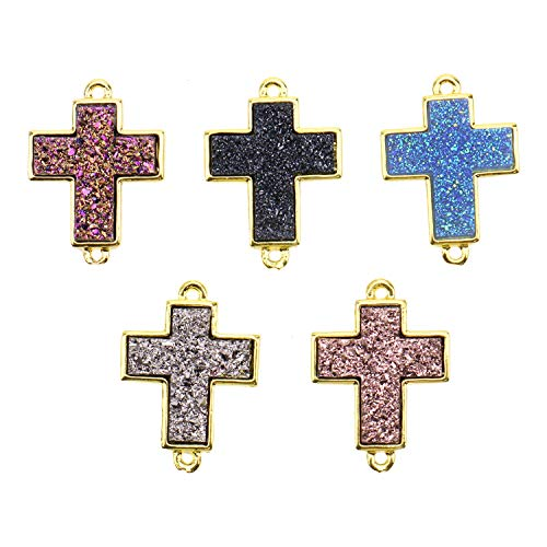 Monrocco 10pcs Plated Faux Druzy Quartz Jewelry Connector Cross Pendants with Gold Brass Clasps for Necklace Earring Jewelry Making