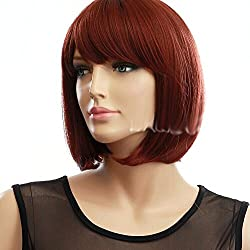"COOLSKY 11.81"" Women's Short Straight Copper Red Hair Natural As Real Cosplay Party Chic Bob Wigs"