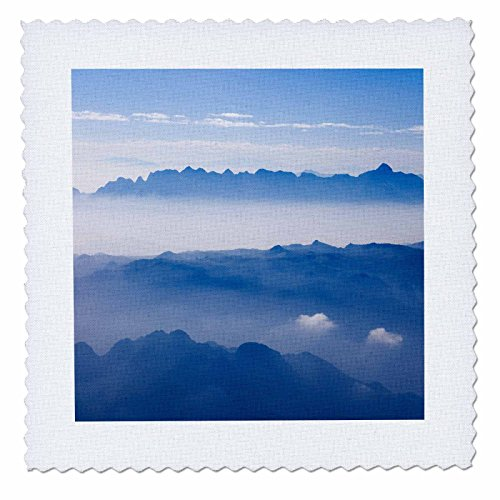 3dRose qs_133176_1 Aerial View of Mountain Layers, Vietnam As38 Ksu0011 Keren Su Quilt Square, 10 by 10-Inch