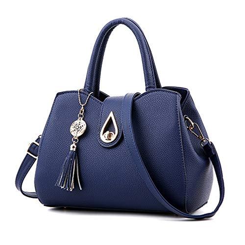 (Pahajim Women PU leather Tote Bags Small Satchel Purses Shoulder Tassel Handbags (blue))