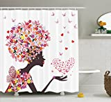 Afro Shower Curtain Floral Decor by Ambesonne, Girl with a Heart of Butterflies Enjoying Blossoms Summer Fantasy Happy Image, Polyester Fabric Bathroom Set with Hooks, 84 Inches Extra Long, White Pink